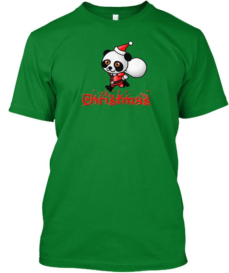 Panda Santa Christmas Bright Green T-Shirt Front
