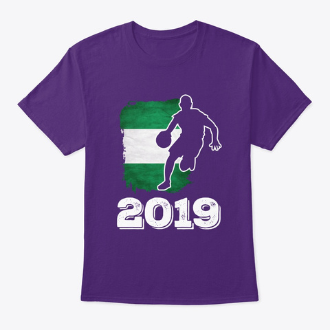 Nigeria Flag Basketball 2019 Tee Purple T-Shirt Front