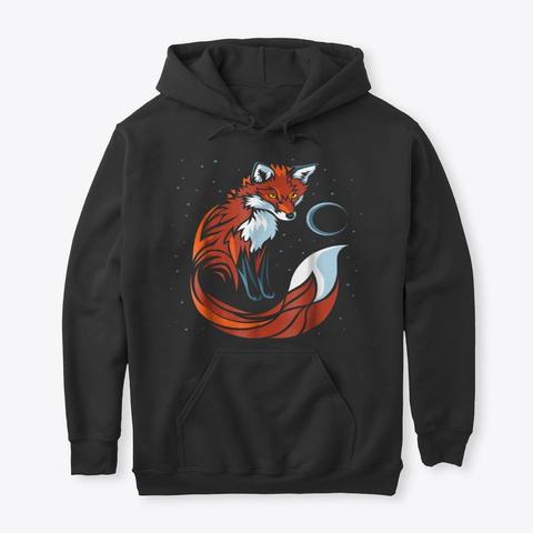 Tribal Tail Fox T Shirt Graphic Design Black T-Shirt Front