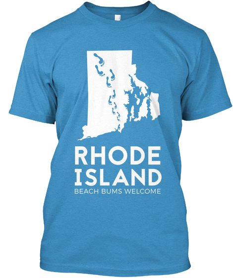 Rhode Island Beach Bums Welcome Heathered Bright Turquoise  T-Shirt Front