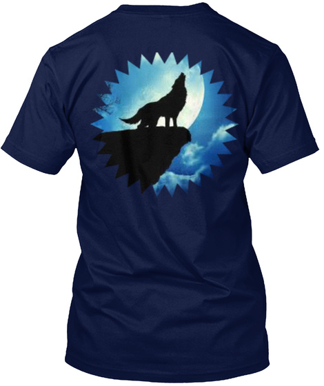 Wolf Howling At The Moon Navy T-Shirt Back