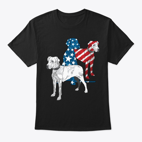 4th Of July Great Dane Lover Gift Black T-Shirt Front
