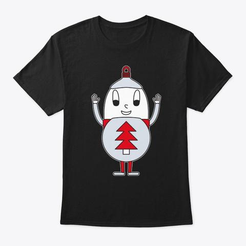 Egg Christmas Ball Fir Black T-Shirt Front