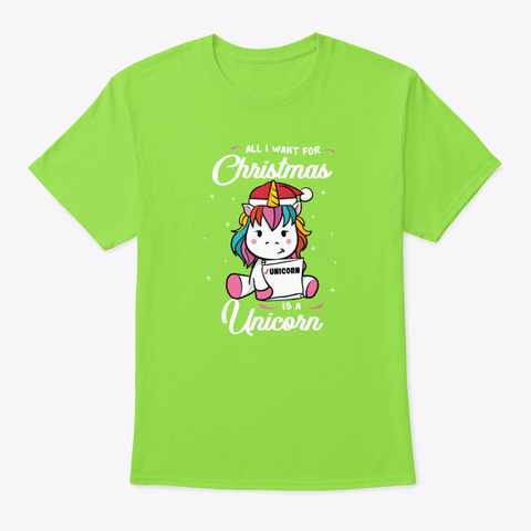 Christmas Funny Unicorn Xmas Present Gi Lime T-Shirt Front