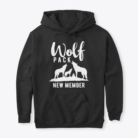 Wolf Pack New Member White Wolves Family Black T-Shirt Front