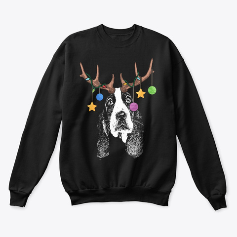 Basset Hound Christmas Ornaments Black T-Shirt Front