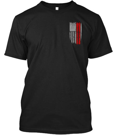 Skiing   Usa Flag Black Camiseta Front