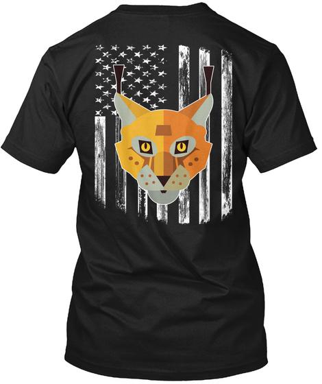 American Flag Lynx 4th Of July Tee Shirt Black T-Shirt Back
