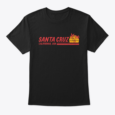 Santa Cruz California Vinate Palm And Su Black T-Shirt Front