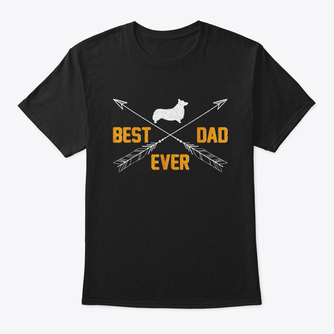 Vintage Best Welsh Corgi Dog Dad Ever Black T-Shirt Front