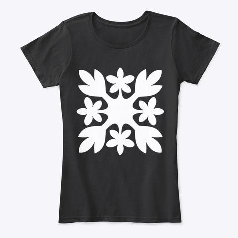 Hawaiian Floral Motif 1 Black T-Shirt Front