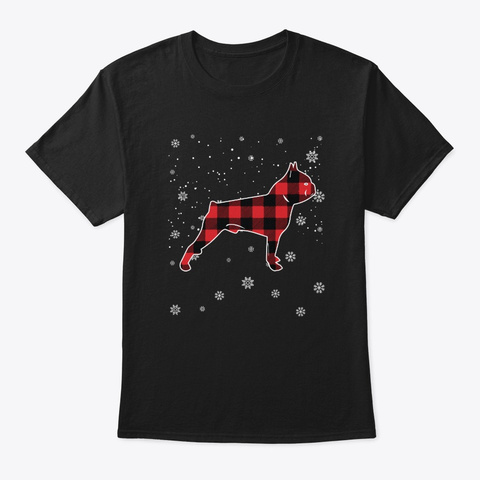 Merry Boston Terrier Christmas T Shirt Black T-Shirt Front