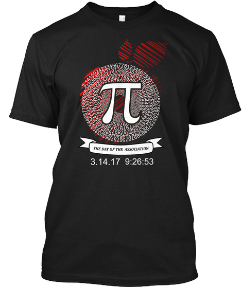 Pi Day Association Black T-Shirt Front