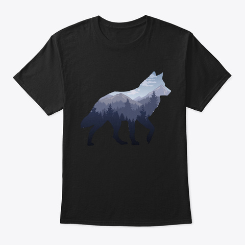 Lone Wolf Survives The Mountain Black T-Shirt Front