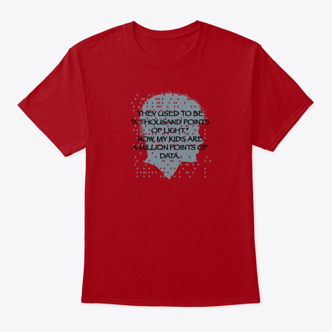 A Million Points Of Data Deep Red T-Shirt Front