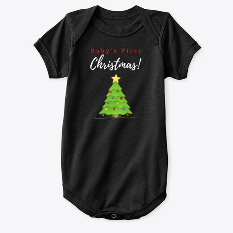 Baby's First Christmas (Tree) Black T-Shirt Front