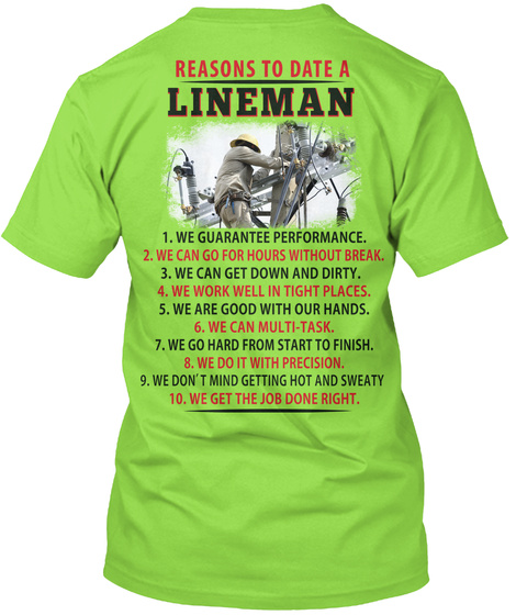 Reasons To Date A Lineman Lime T-Shirt Back