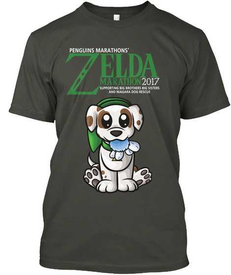 Penguins Marathons' Zelda Marathon 2017 Supporting Big Brothers Big Sisters And Nilagara Dog Rescue Smoke Gray T-Shirt Front