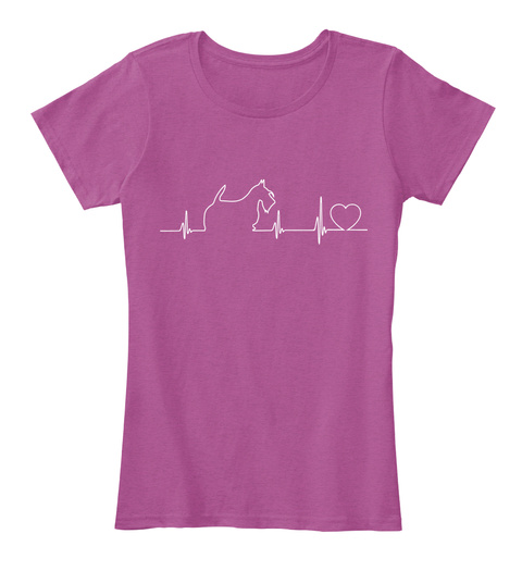 Heart Beat Scottie Love Heathered Pink Raspberry T-Shirt Front