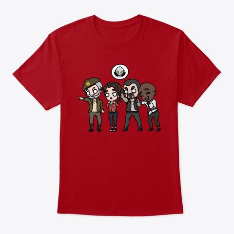 L4 D1 Survivor Chibis By Cheetah! Deep Red T-Shirt Front