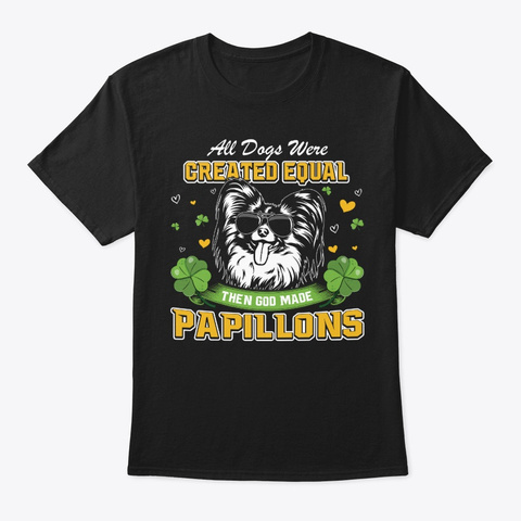 St Patricks Day Papillons Black T-Shirt Front