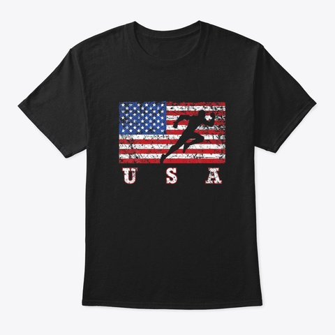 American Flag Track Field Usa Track Team Black T-Shirt Front
