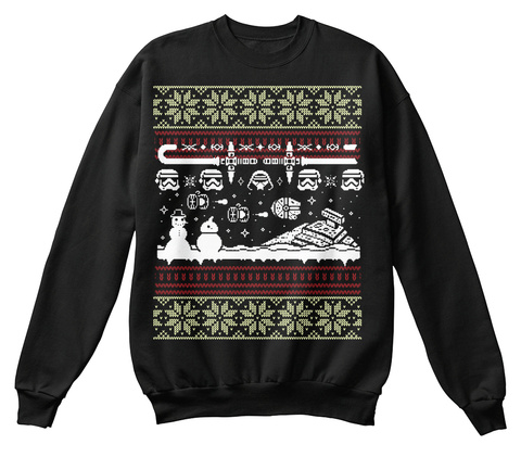 Ugly Christmas Sweatshirt Jet Black T-Shirt Front