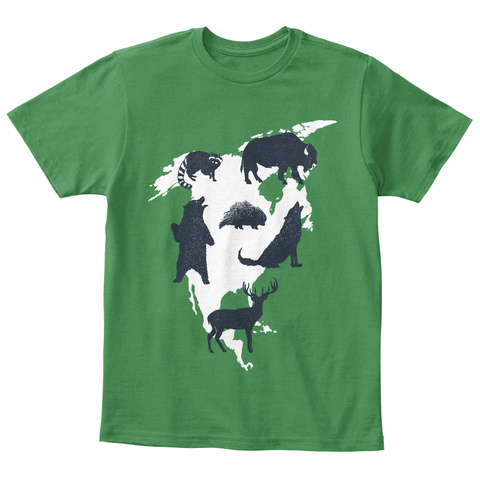 Animals Of North America Children Tee Kelly Green  T-Shirt Front