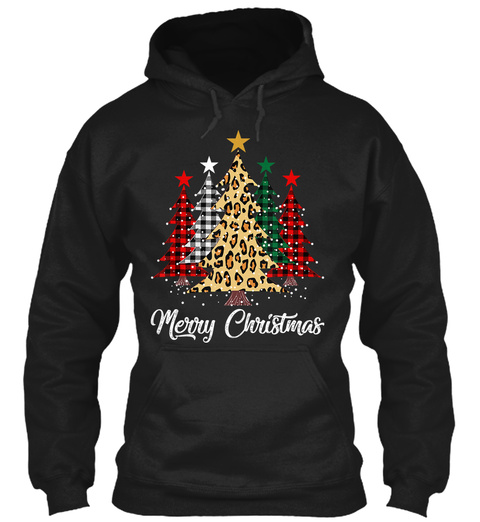 Cute Merry Christmas Tree Leopard Design Black T-Shirt Front