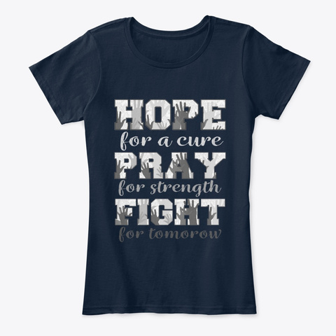 Hope  Pray Fight Brain Cancer New Navy T-Shirt Front