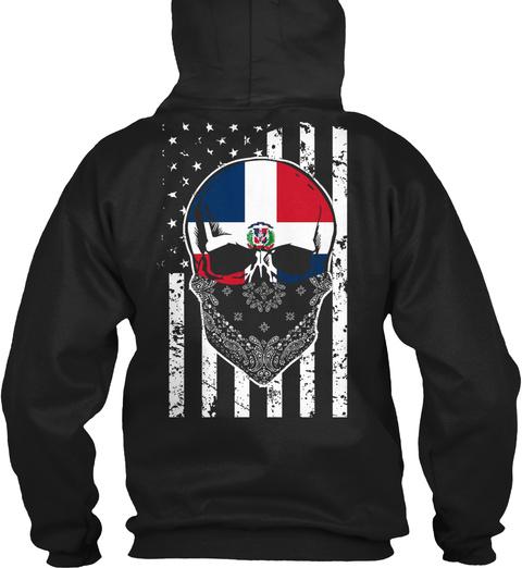 Dominican Skull + American Flag Black Sweatshirt Back