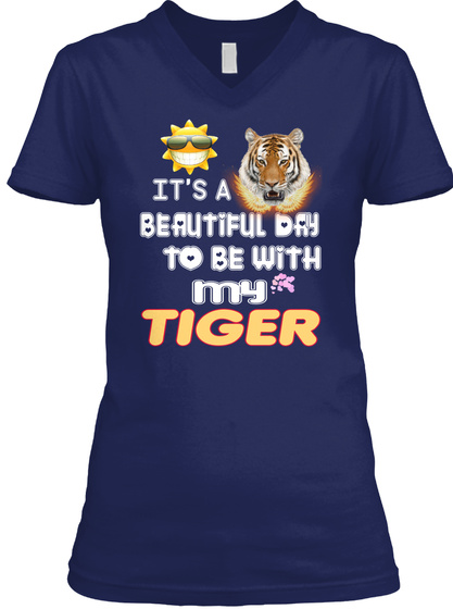 Beautiful Day With Tiger Navy T-Shirt Front