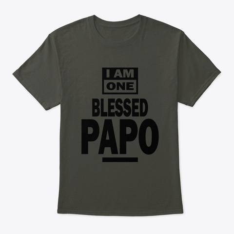 Mens I Am One Blessed Papo Grandpa Gift Smoke Gray T-Shirt Front