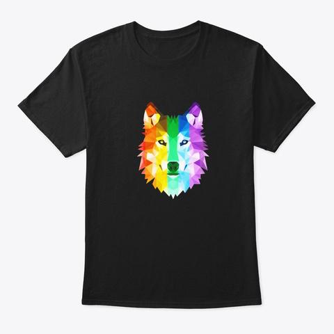 Lgbtq Pride Flag Wolf Tee Black T-Shirt Front