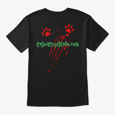 Cujo's Crypt Radio Christmas  Black T-Shirt Back