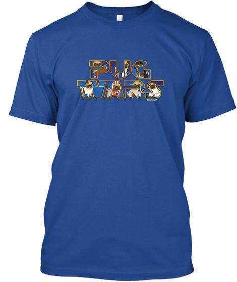 Pug War Deep Royal T-Shirt Front
