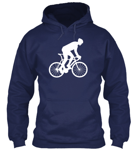 Hoodie Bicycle Rider  Navy T-Shirt Front