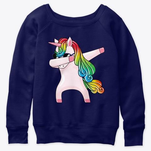 Dabbing Unicorn In Sunglasses Rainbow Un Navy  T-Shirt Front