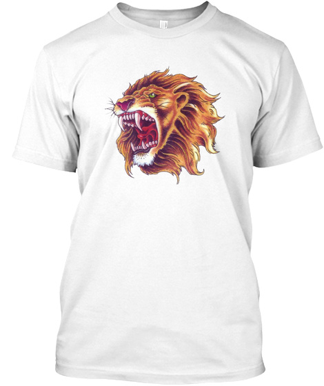 Color Ful Lion Face Image Hd White T-Shirt Front