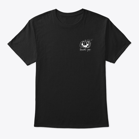 Spooky Gay (White Design) Black T-Shirt Front