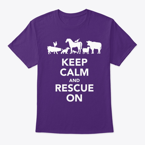 Keep Calm And Rescue On Purple T-Shirt Front
