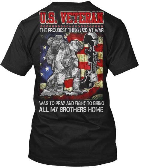 U.S Veteran  Black T-Shirt Back