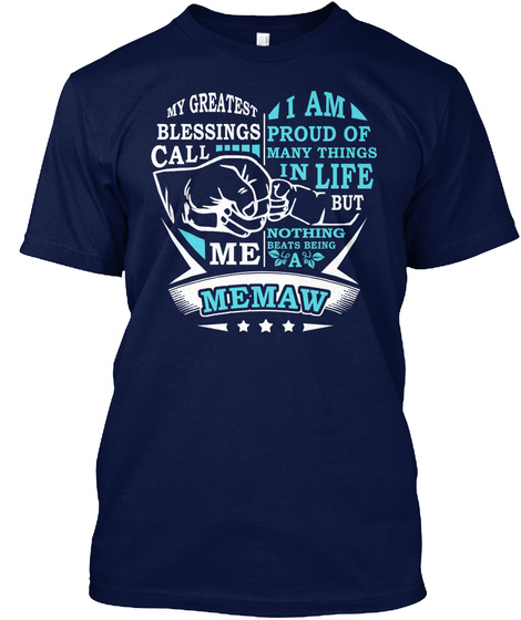 Proud Memaw Mothers Day Navy T-Shirt Front