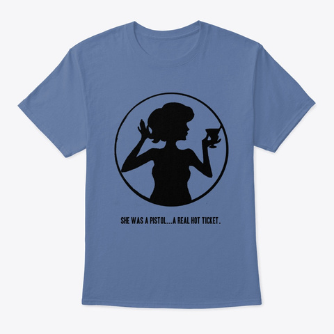 Dottie Collection   A Real Hot Ticket Denim Blue T-Shirt Front