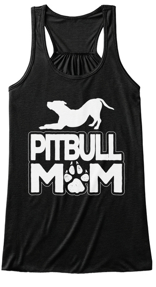 Pitbull Mom Black T-Shirt Front
