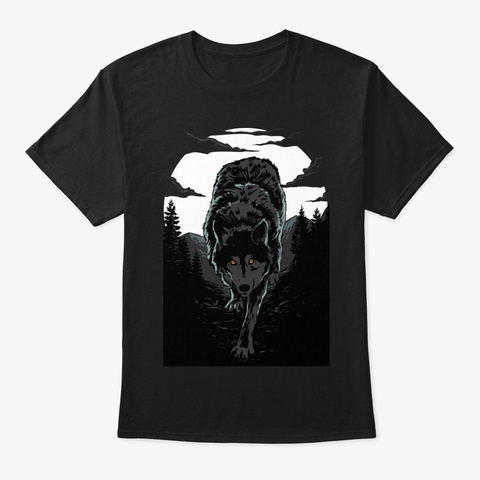 Wolf And Moon Black T-Shirt Front