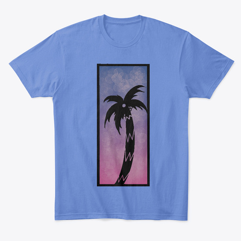 Peaceful Palms Heathered Royal  T-Shirt Front