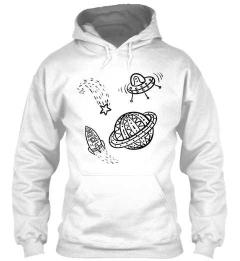 Hoodie Martian Rocket Spaceship Traffic White Sweater Lengan Panjang Front