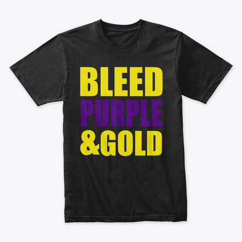 Bleed Purple & Gold Black T-Shirt Front