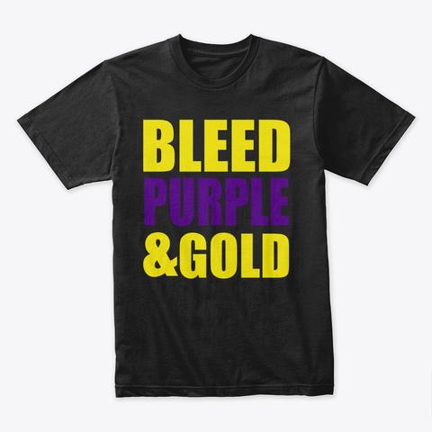 Bleed Purple & Gold Black T-Shirt Front